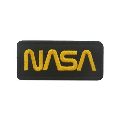 Embroidery NASA Logo Iron Sew On Patch Applique Jackets Badge Black/Yellow