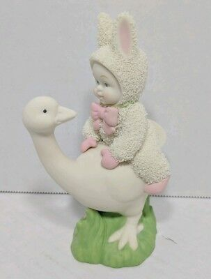 Department 56 Snowbunnies Loose on a Goose 56.26422 Ceramic Holiday Figurine
