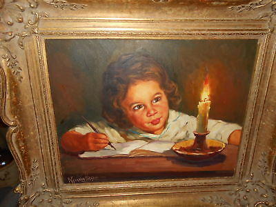 Rare Vintage/antique Signed Original Oil Painting On Canvas Antique Frame Signed