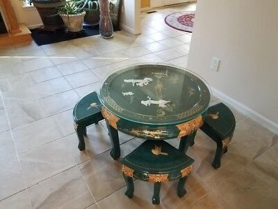 oriental Chinese lacquer coffee table mother of pearl hand carved 4 stools