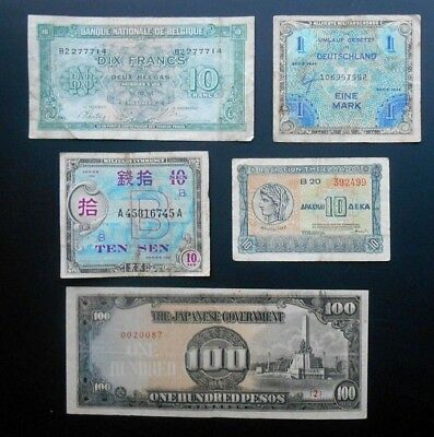 Mixed Lot of WWII Military Payments & World Paper Money Lot.  Circulated.