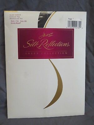 New Vintage Hanes Silk Reflections Silky Sheer Pantyhose 718 Barely Black AB