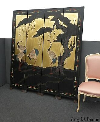 Vintage Asian Oriental Four Panel Screen w Cranes Room Divider ~ Double Sided