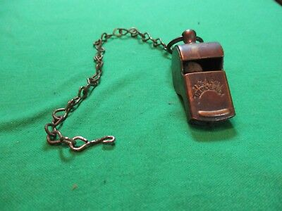 """Brass """"the Acme Thunderer"""" Police Style Whistle & Chain- England,- Great Sound!"""