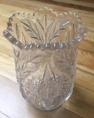 "Antique ABP American Brilliant Period Clear Cut Crystal Vase Tulip Edge 6"" H"