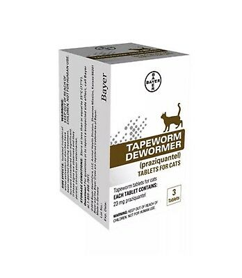 Bayer Tapeworm Dewormer For Cats 3 Tablets Free Shipping!