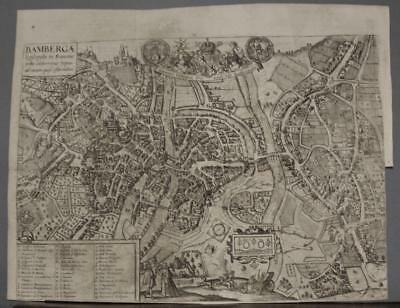 Bamberg Germany 1685 Jansson Unusual Antique Original Copper Engraved City View