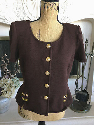 Sz 10 Vintage St.John Collection Brown Short Sleeve Knit Sweater Iconic Trim