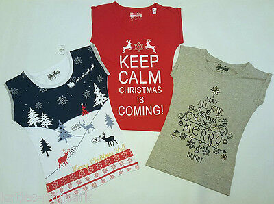 Primark Ladies / Older Girls Christmas Xmas T Shirt T Top  Tee Uk 6 - 16 New