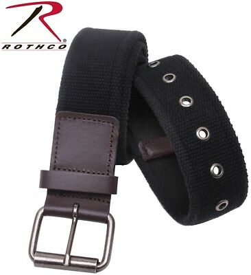 Men's Black Vintage Single Prong Brown Leather Accent Cotton Belt Rothco 4371
