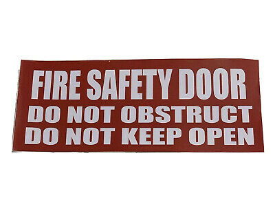 Fire Safety Door Sign Sticker Self Adhesive Do Not Obstruct Do Not Keep Open