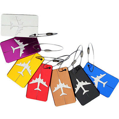 2016 Aluminum Luggage Tag Travel Baggage Airplane Tag Name Address Label Tags CA