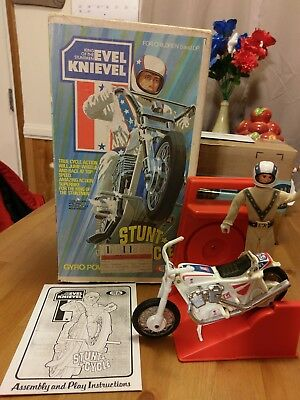 Evel Knievel Stunt Cycle Action Figure Box & Launcher Awesome Evil Early Edition