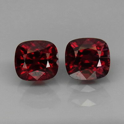 Cushion 6.5x6 mm.PAIR! Best Color Top Noble Red Spinel MaeSai,Thailand 2.84Ct.