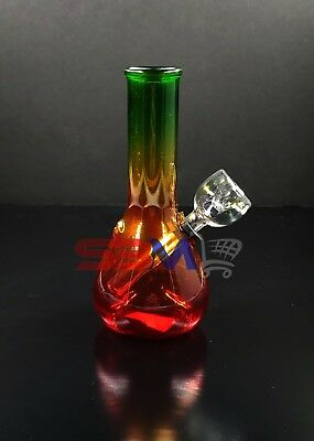 Hookah Water Pipe Glass Bong 5 Inch Frosted Rasta Smoking Pipe w/ Carb Hole