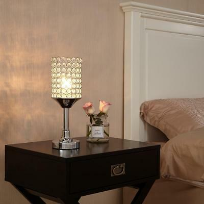 Elegant Crystal Beaded Table Lamp, Mini Cute Night Side Lamp for Bedroom, Desk