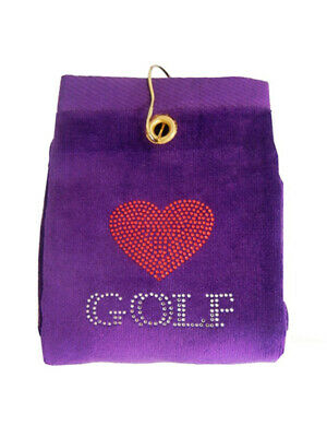 Navika Bling Heart Golf Golf Towel Purple