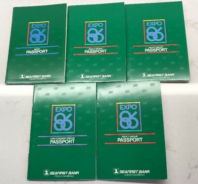 Expo 86 Vancouver BC Adult Group Passport Seafirst Bank Unused Lot Of Five