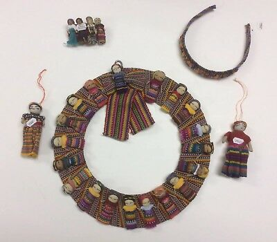 """Handmade Traditional Guatemalan 13"""" Worry Doll Wreath Plus Ornament And Extras"""