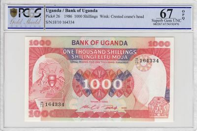 Bank Of Uganda P-26 1000 Shillings PCGS GS 67 OPQ Africa World Banknote 1986
