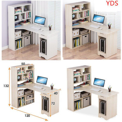 Multifunction Corner Computer Desk W/ Shelves Bookcase PC Writing Laptop Table