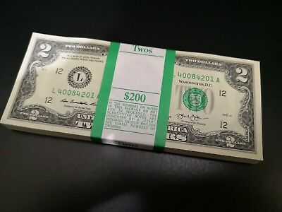 Uncirculated $2 Two Dollar bills - 2013- *NEW* Lucky Sequential Serial USD Crisp