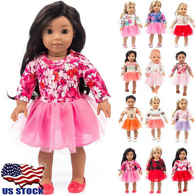 US STOCK Doll Clothes Dress Outfits Pajames For 18 inch Doll Xmas Dress Socks