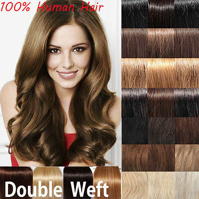 Deluxe Extra Thick Double Weft Clip In Remy Human Hair Extensions Full Head K731