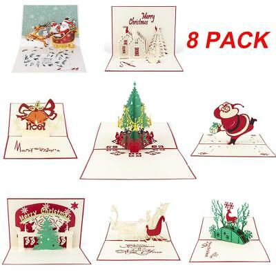 8X 3D Christmas Cards Pop Up Greeting Cards 3D Handmade Greeting for Xmas Card