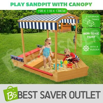 Kids Sand Pit Outdoor Play Set Sandbox Sandpit Children Wooden Toy w/Canopy