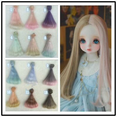 15cm Long Colorful Ombre Straight Doll Synthetic DIY Hair Extensions For Dolls