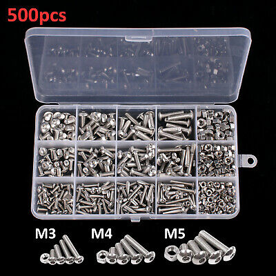 500pcs Set M3 M4 M5 Screw Bolts and Nuts Precise Hex Head Cap Stainless Steel