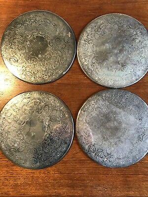 Vintage Set Of Four Strachan Silver Plate Placemats