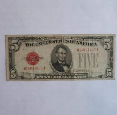 1928 E FIVE DOLLAR RED SEAL UNITED STATES NOTE circulated