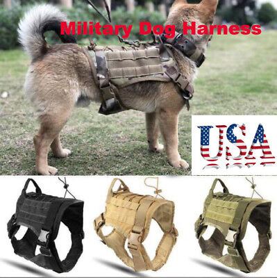 Adjustable Tactical Harness Vest K9 Dog Military-Police Molle Nylon Harness Vest