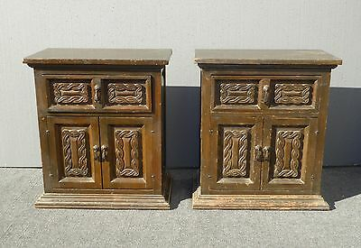 Pair Vintage Spanish Style RUSTIC NIGHTSTANDS Arte de Mexico Made in Mexico