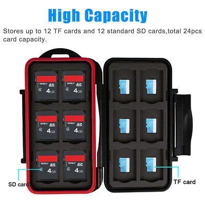 Memory Card Case Water Resistant Holder Storage Fits 12 SD+12 Micro SD TF Cards