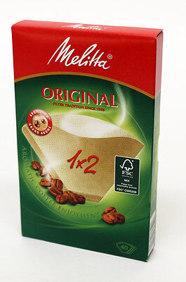 Genuine Melitta Coffee Filter Papers Size 1 X 2, Pack of 40, 80087