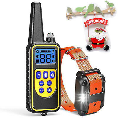 800M Pet Dog Shock Training Collar With Remote Rechargeable IP6X NO Bark Trainer