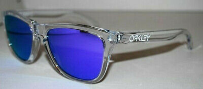Oakley Frogskins Sunglasses 24-305 Polished Clear/Violet Iridium NEW