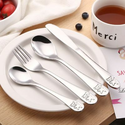 4 PCs / Set Baby Spoon Food Feeding Fork Utensils Kids Learning Eating Tableware