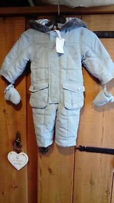 Jasper Conran Junior J Pram Snow Suit Baby Boy Girl Blue 12-18months BNWT