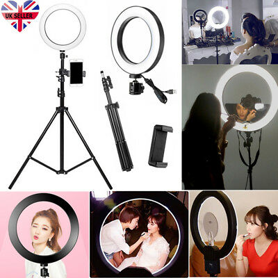 "10"" LED Studio Ring Light Photo Video Dimmable Lamp Light Kit For Camera & Phone"