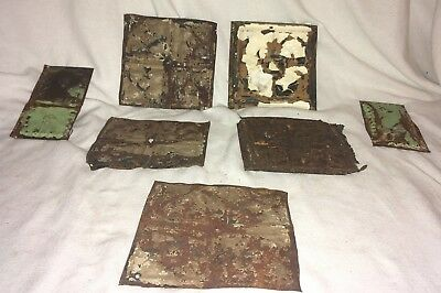"Lot of Reclaimed 1890's Antique Tin Ceiling Tiles 6"" x 6-1/2"" Vintage Metal"