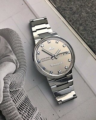 Rare Steel Mido Oversize Day Date Vintage Watch Oceanstar Dato Day Commander