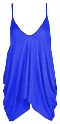 New in Fashion Women Plain V Neck Lagenlook Strappy Hanky Ladies Cami Vest Top