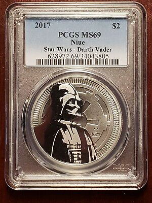 2017 1 Oz. Silver Niue Star Wars Darth Vader PCGS MS 69