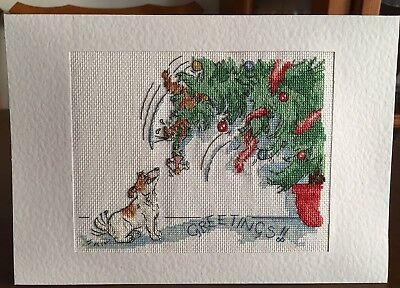 Xtra Large Hand Made Completed Cross Stitch Cat & Dog Christmas Card 100% Nowzad