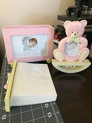Baby Girl Picture Holder Frame and Pink Bear Frame