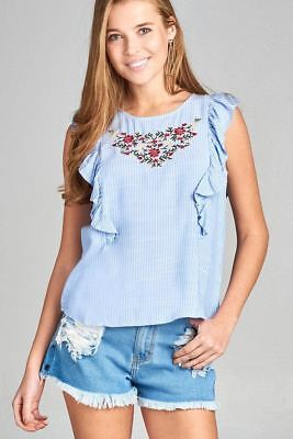 6e8180a7b54dd Ladies fashion ruffle cap sleeve round neck front floral embo w back button  top